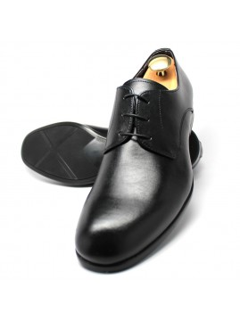 Classic Black Derby Shoes. Debossed inset NOHARM logo accessory.