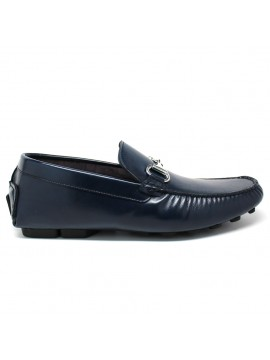 NOHARM Blue Vegan Driving Moccasin. Made in Italy