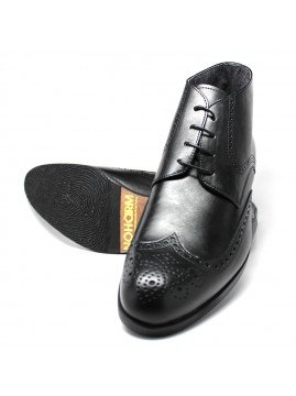 Black Vegan Brogue Boot. Made in Italy