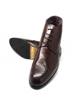 Brown Vegan Full Brogue Boots. Made in Italy.