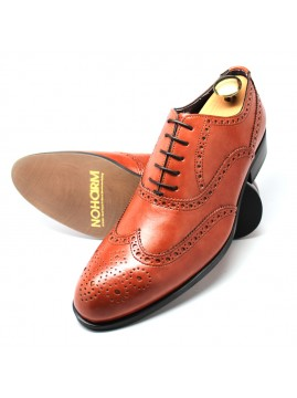 Cognac Vegan Full Brogue Oxford Shoe. Made in Italy