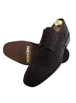 Vegan Suede Brown Brogue Derby Shoe - NOHA3346