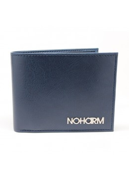 Blue NOHARM Billfold Vegan Wallet. Made in Italy