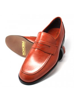 Cognac Vegan Penny Loafer. Made in Italy