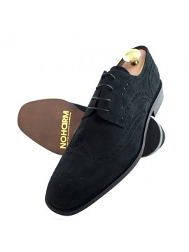 Vegan Suede Black Brogue Derby Shoe - NOHA3347