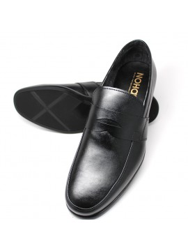 Black Vegan Penny Loafer. Debossed inset NOHARM logo accessory.