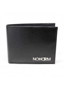 Black NOHARM Billfold Vegan Wallet. Made in Italy